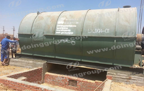 2 sets 10tons waste tyre pyrolysis machine in Egypt installation