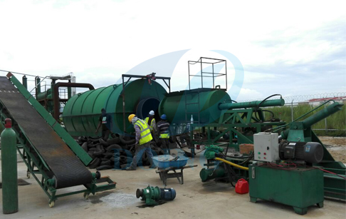 Panama waste tyre recycling pyrolysis plant running video