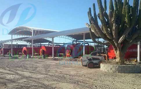 Mexico 10 set scrap tire recycling machine was proc