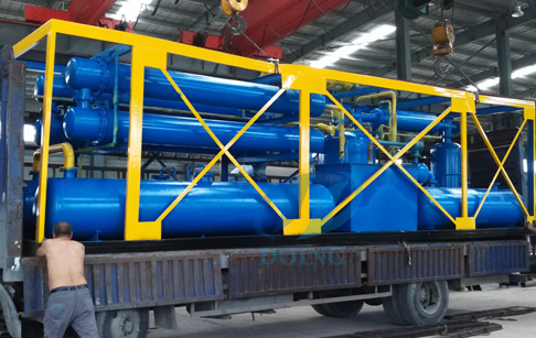 The pyrolysis plant for recycling waste tyre/plastic to oil delivery to Panama