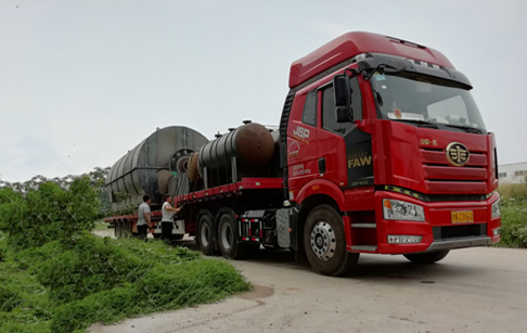 2 sets 12T/D waste tire pyrolysis plant delivered to Foshan,China