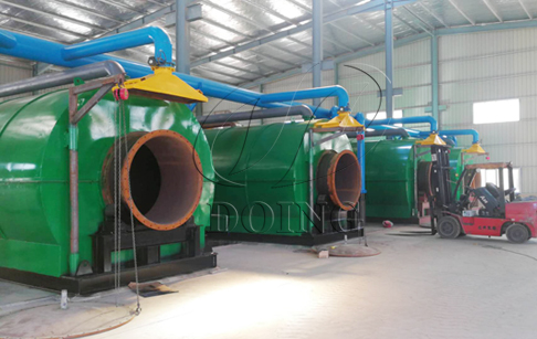 4 sets 12T/D used tyre recycling pyrolysis equipments being installed in Fujian, China