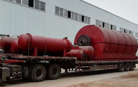 One set 12T waste tyre recycling pyrolysis plant delivered to Hebei, China