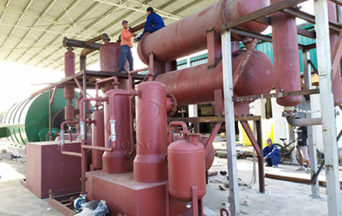 One set 12T waste tyre recycling pyrolysis plant was installed in the Philippines