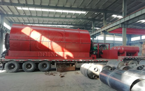 Two sets 10T waste tire recycling pyrolysis plant were sent to Inner Mongolia