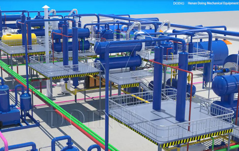 3D demonstration video for new generation waste tyre recycling pyrolysis plant
