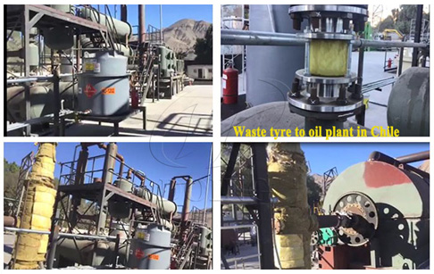 One set 10T waste tyre to oil plant installed in Chile was successfully tested