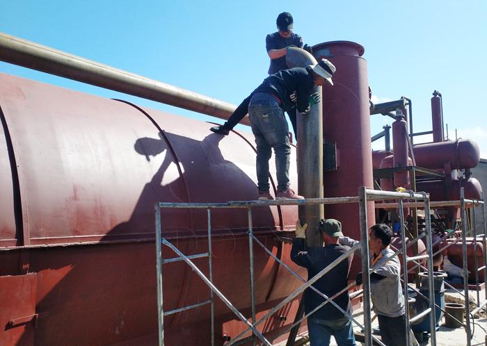 waste tyre pyrolysis to oil machine
