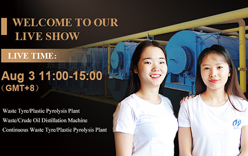 Live show about tire plastic recycling pyrolysis plant