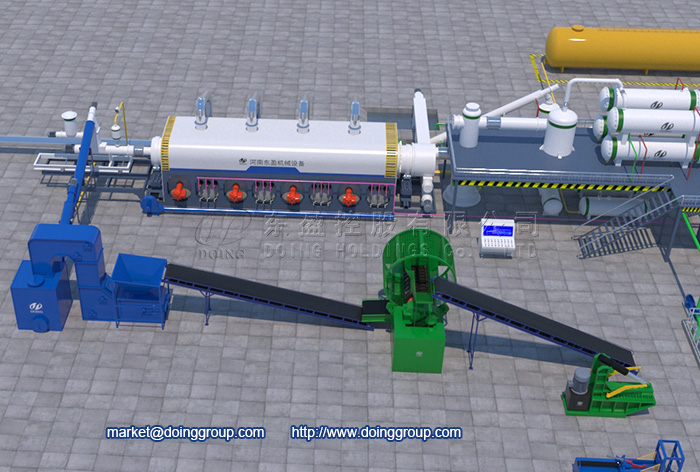 fully continuous tyre pyrolysis plant