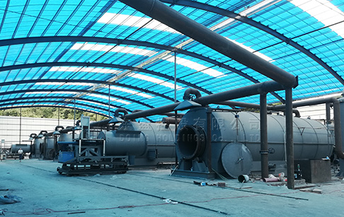 6 sets 15TPD waste tire recycling pyrolysis plant project in Hunan, China