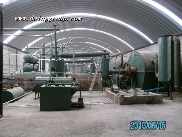 What is the size to build a waste tire pyrolysis plant?
